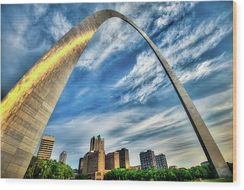 The Saint Louis Arch And City Skyline Wood Print