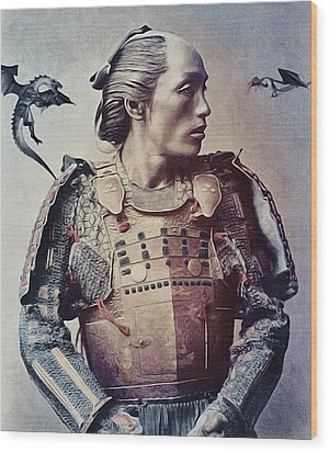 The Samurai And The Dragons Wood Print by Susan Maxwell Schmidt