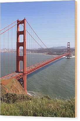 The San Francisco Golden Gate Bridge . 7d14504 Wood Print by Wingsdomain Art and Photography