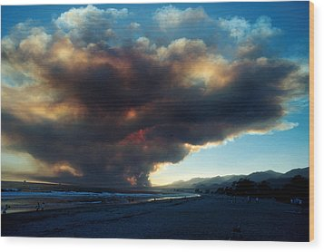 The Santa Barbara Fire Wood Print by Jerry McElroy