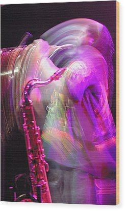 The Saxophone Player Wood Print by Gerry Walden