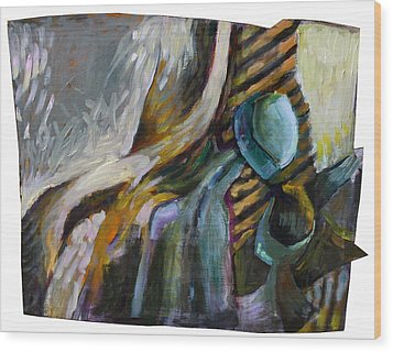 The Scarf The Glass And Caraffe Wood Print by Piotr Antonow