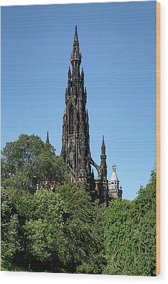 Wood Print featuring the photograph The Scott Monument In Edinburgh, Scotland by Jeremy Lavender Photography