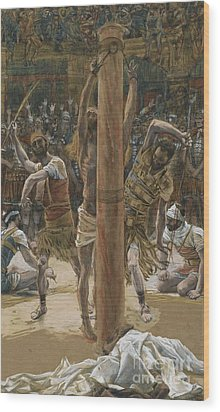 The Scourging On The Back Wood Print by Tissot