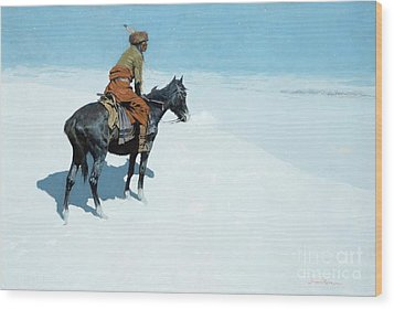 The Scout Friends Or Foes Wood Print by Frederic Remington