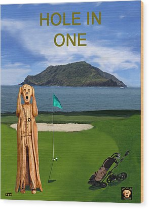 The Scream World Tour Golf  Hole In One Wood Print by Eric Kempson