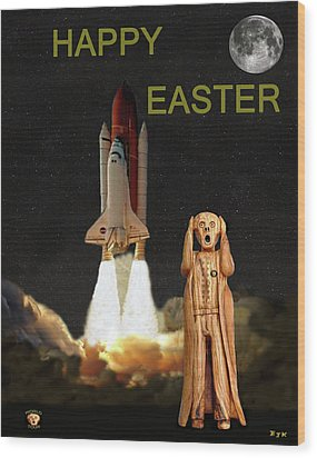 The Scream World Tour Space Shuttle Happy Easter Wood Print by Eric Kempson