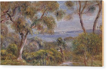 The Sea At Cagnes Wood Print by Pierre Auguste Renoir