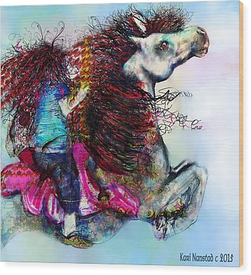 Wood Print featuring the digital art The Sea Horse Fairy by Kari Nanstad