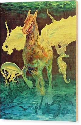 Wood Print featuring the painting The Seahorse by Henryk Gorecki