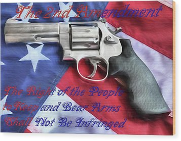 Wood Print featuring the digital art The Second Amendment by JC Findley