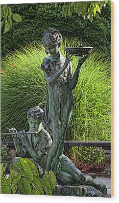 The Secret Garden Memorial Statue And Bird Bath Wood Print