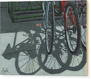 The Secret Meeting - Bicycle Shadows Wood Print