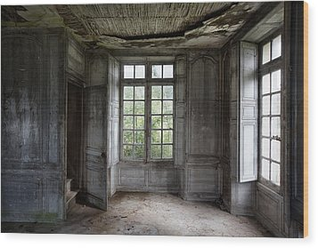The Secret Stairs To Heaven - Abandoned Building Wood Print by Dirk Ercken