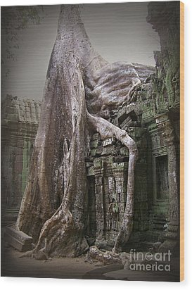 The Secrets Of Angkor Wood Print by Eena Bo