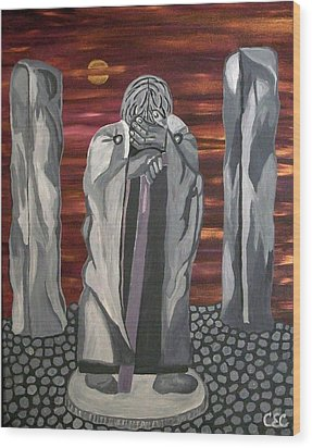Wood Print featuring the painting The Seer by Carolyn Cable