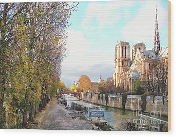 The Seine And Quay Beside Notre Dame, Autumn Wood Print by Felipe Adan Lerma