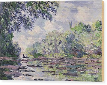 The Seine At Giverny Wood Print by Claude Monet