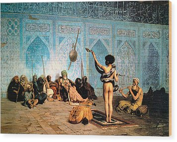 The Serpent Charmer Wood Print by Jean Leon Gerome