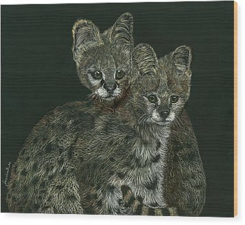 The Serval Twins Wood Print by Jessica Kale