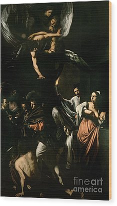 The Seven Works Of Mercy Wood Print by Caravaggio