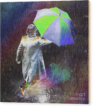 Wood Print featuring the photograph The Sheer Joy Of Puddles by LemonArt Photography