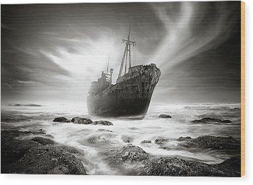 The Shipwreck Wood Print by Marius Sipa