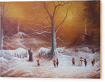 The Shire First Snowfall Wood Print by Joe Gilronan