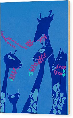 The Short Necked Giraffe 1 Wood Print by Lily Hymen