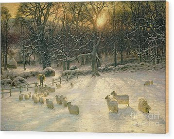The Shortening Winters Day Is Near A Close Wood Print by Joseph Farquharson
