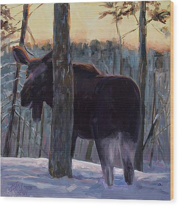 Wood Print featuring the painting The Shy One by Billie Colson