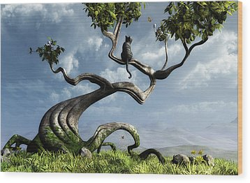 The Sitting Tree Wood Print by Cynthia Decker