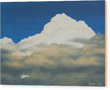 The Sky's The Limit Wood Print by Karen Coombes