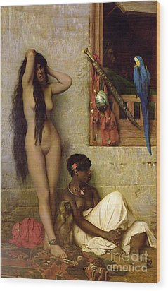 The Slave For Sale Wood Print by Jean Leon Gerome