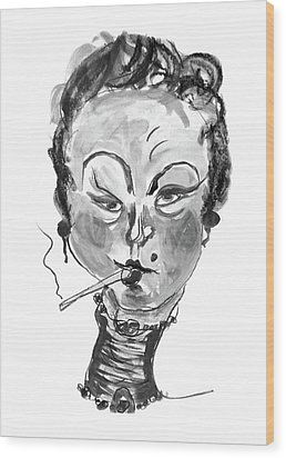 Wood Print featuring the mixed media The Smoker - Black And White by Marian Voicu