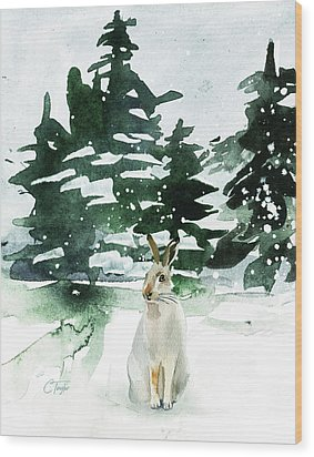 Wood Print featuring the painting The Snow Bunny by Colleen Taylor