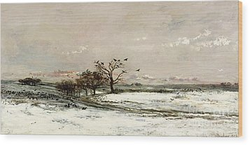 The Snow Wood Print by Charles Francois Daubigny