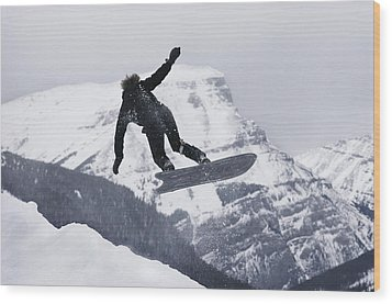 The Snowboard Championships Were Held Wood Print by George F. Mobley