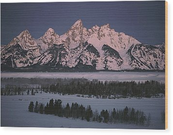 The Snowcapped Grand Tetons Wood Print by Dick Durrance Ii