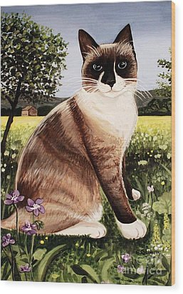 Wood Print featuring the painting The Snowshoe Cat by Elizabeth Robinette Tyndall