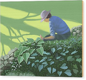 The Solace Of The Shade Garden Wood Print