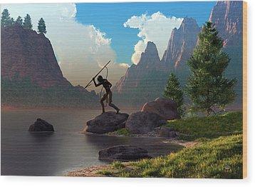 Wood Print featuring the digital art The Spear Fisher by Daniel Eskridge