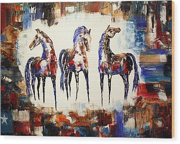 The Spirit Of Texas Horses Wood Print by Jennifer Godshalk
