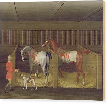 The Stables And Two Famous Running Horses Belonging To His Grace - The Duke Of Bolton Wood Print by James Seymour