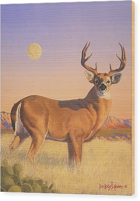The Stag Wood Print by Howard Dubois