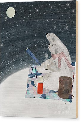 Wood Print featuring the painting The Stargazers by Bri B