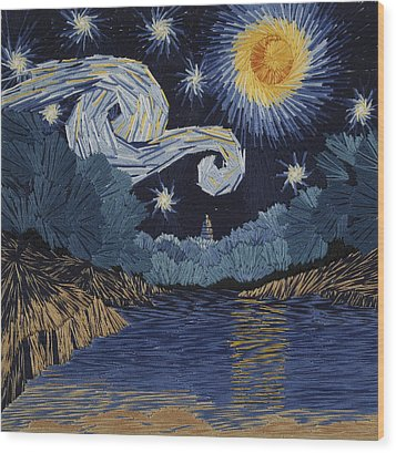 The Starry Night At Barton Springs Wood Print by Barbara Lugge