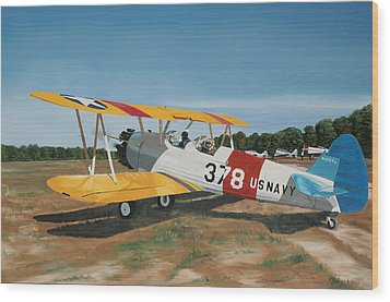 The Stearman Wood Print by Kenneth Young