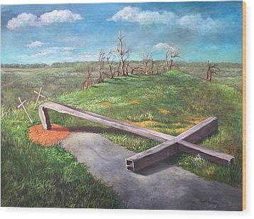 Wood Print featuring the painting Millsfield Tennessee Steel Cross by Randol Burns
