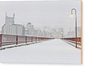 The Stone Arch Bridge In Minneapolis Minnesota. Wood Print by Adam Hester